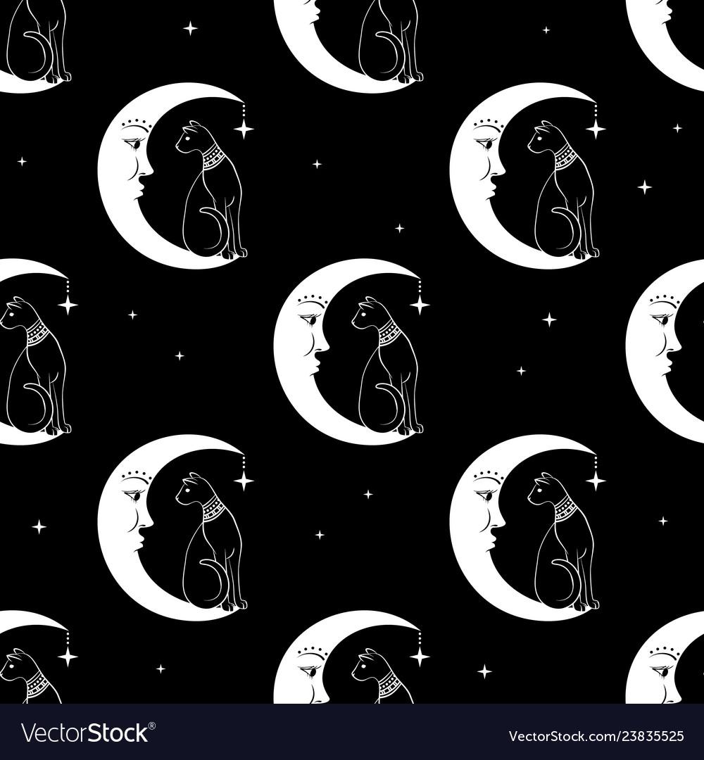 Cat sitting on moon night sky seamless pattern