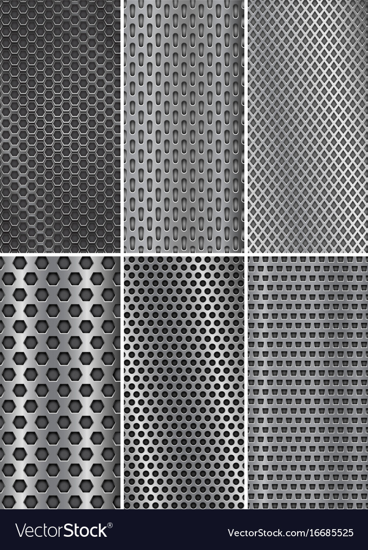 Collection of metal backgrounds perforated steel