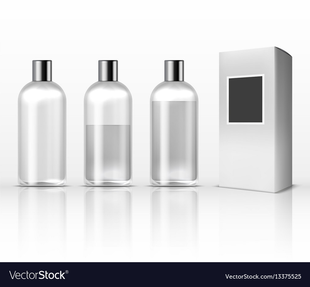 Cosmetic clear plastic bottles empty transparent