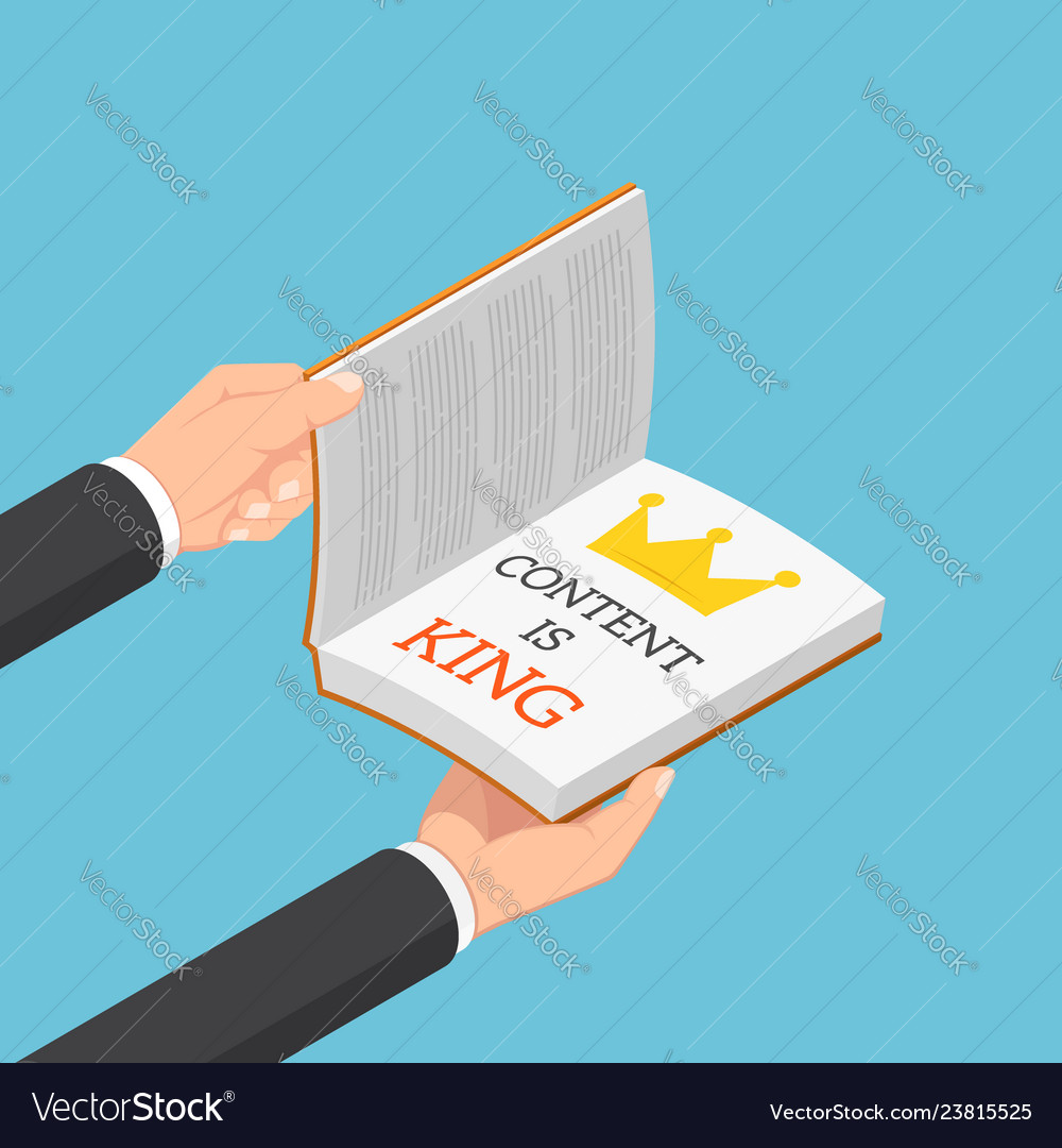 Isometric businessman hands open the book with