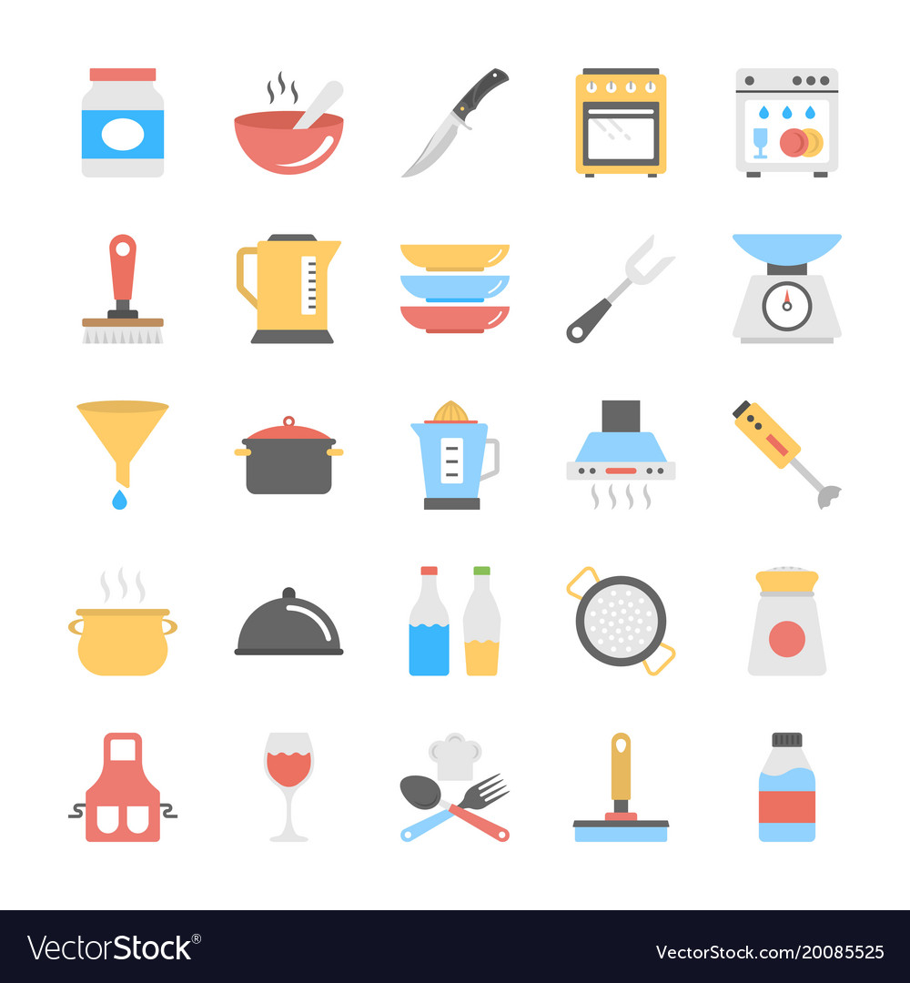 Kitchen utensils flat icons pack