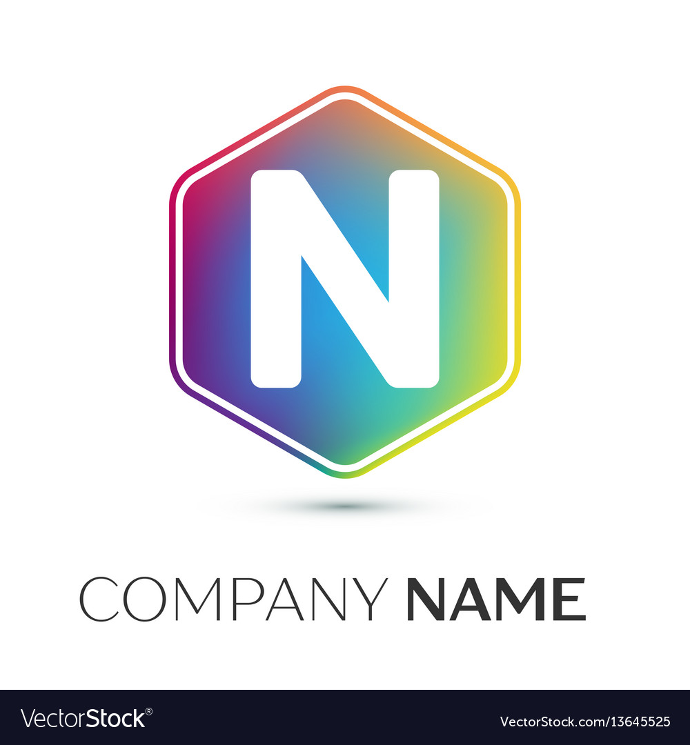 Letter n logo symbol in the colorful hexagonal on