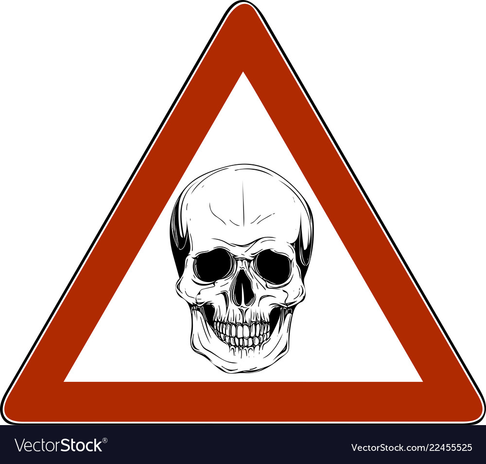 Skull danger sign in white background