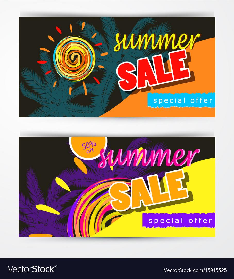 Summer sale template banner set