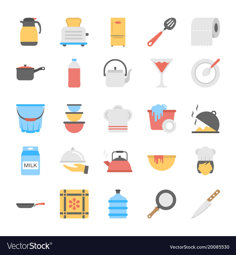 A pack of kitchen utensils flat icons vector image