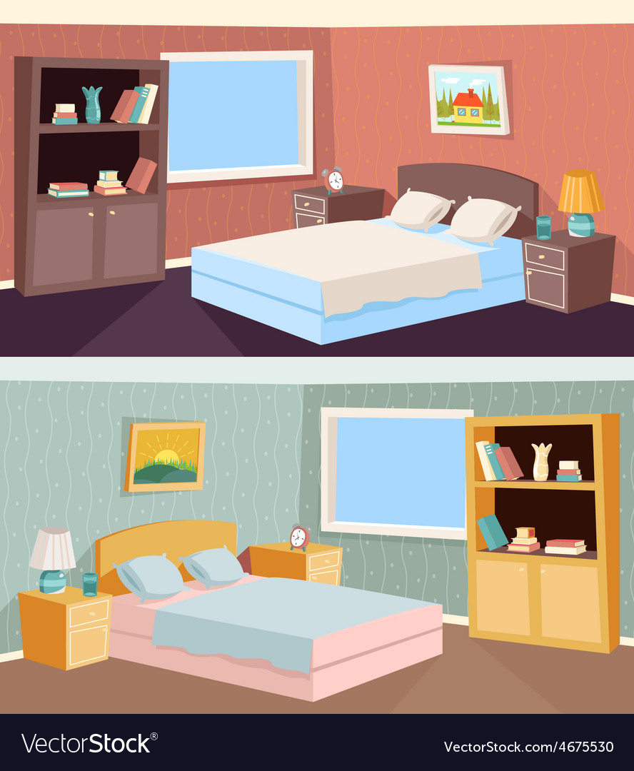 Cartoon Bedroom Apartment Livingroom Interior Vector Image