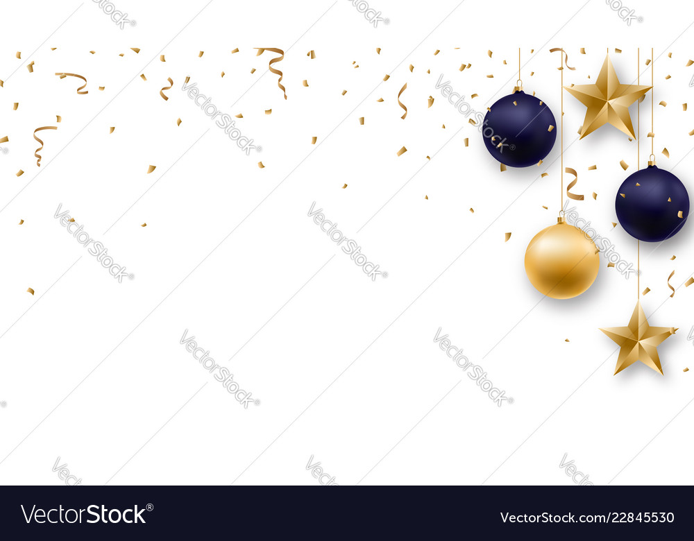 Christmas background with shiny golden and blue