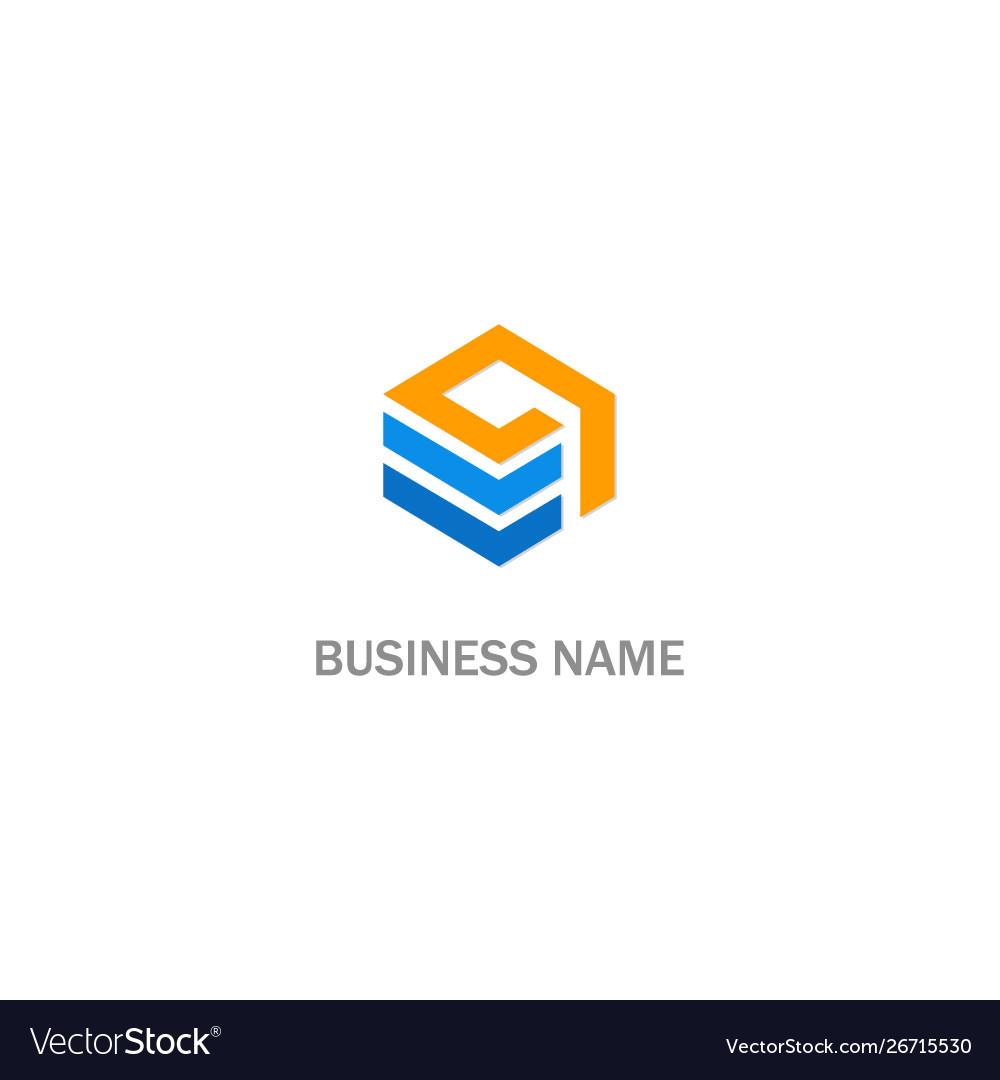 Cube line data logo