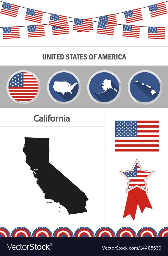 Map of california set of flat design icons