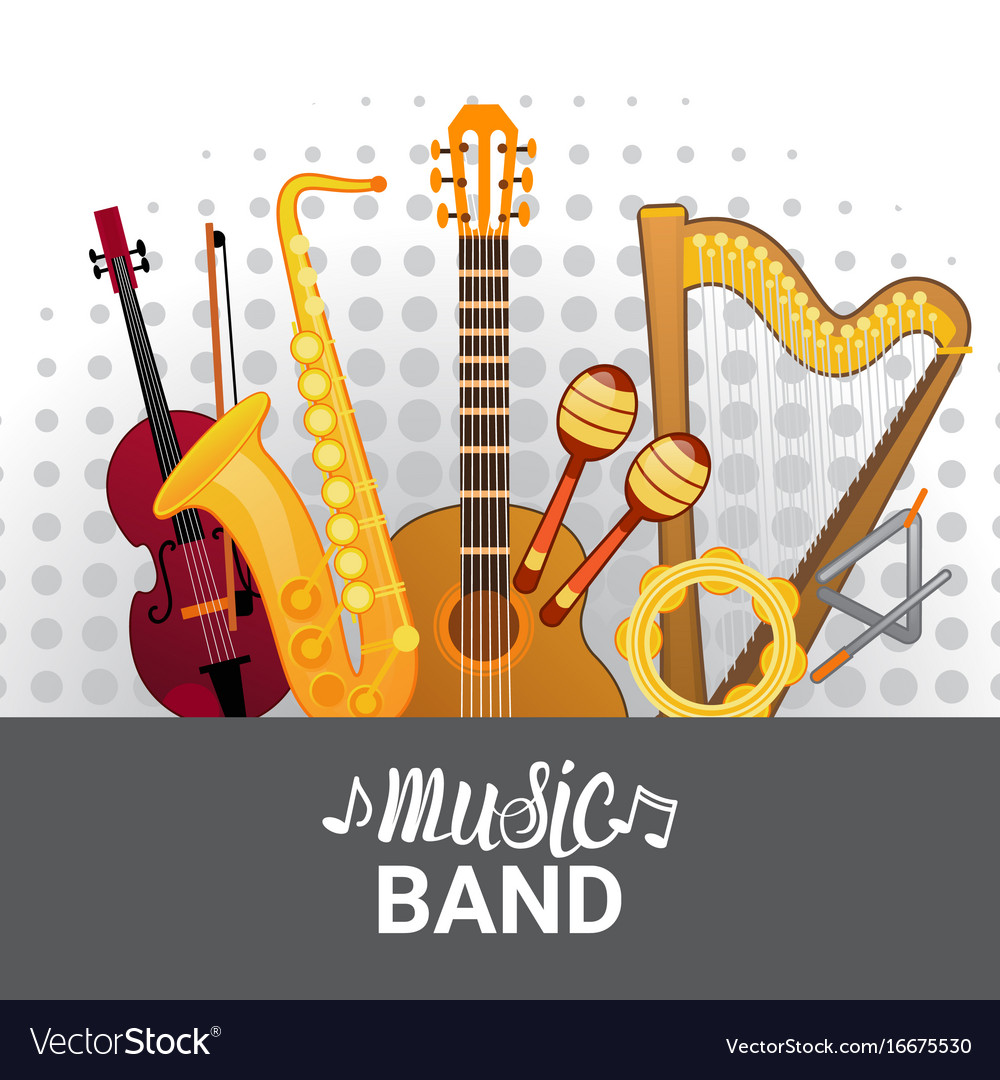 Music band instruments set banner musical concert