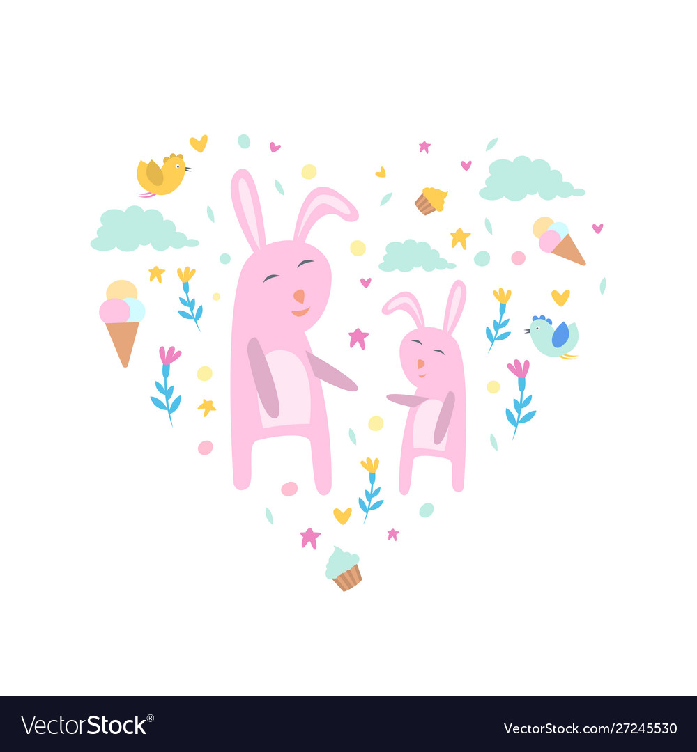 Pink bunnies with clouds flowers and ice creams