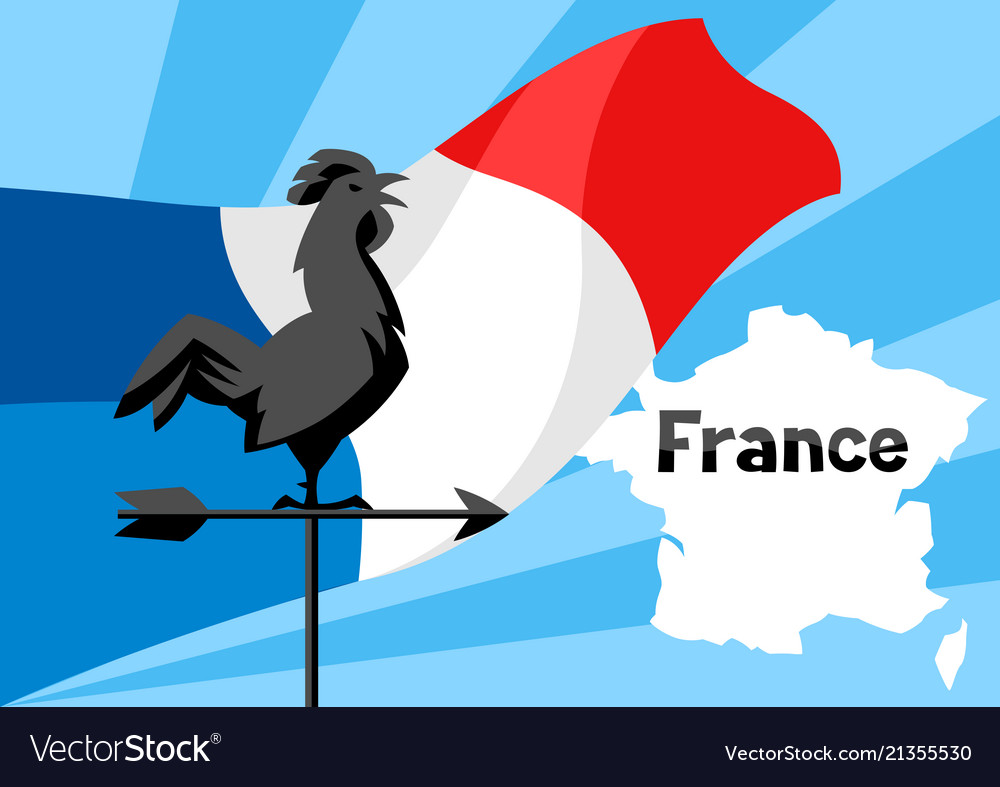 Rooster weathervane on flag of france