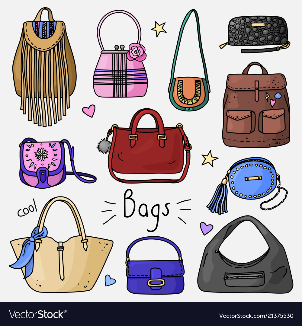 Set of hand drawn women accessories bags