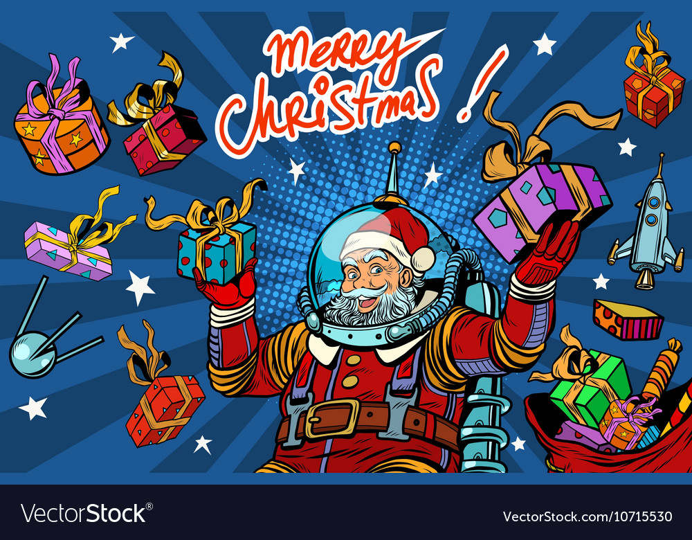 Space Santa Claus in zero gravity with Christmas vector image