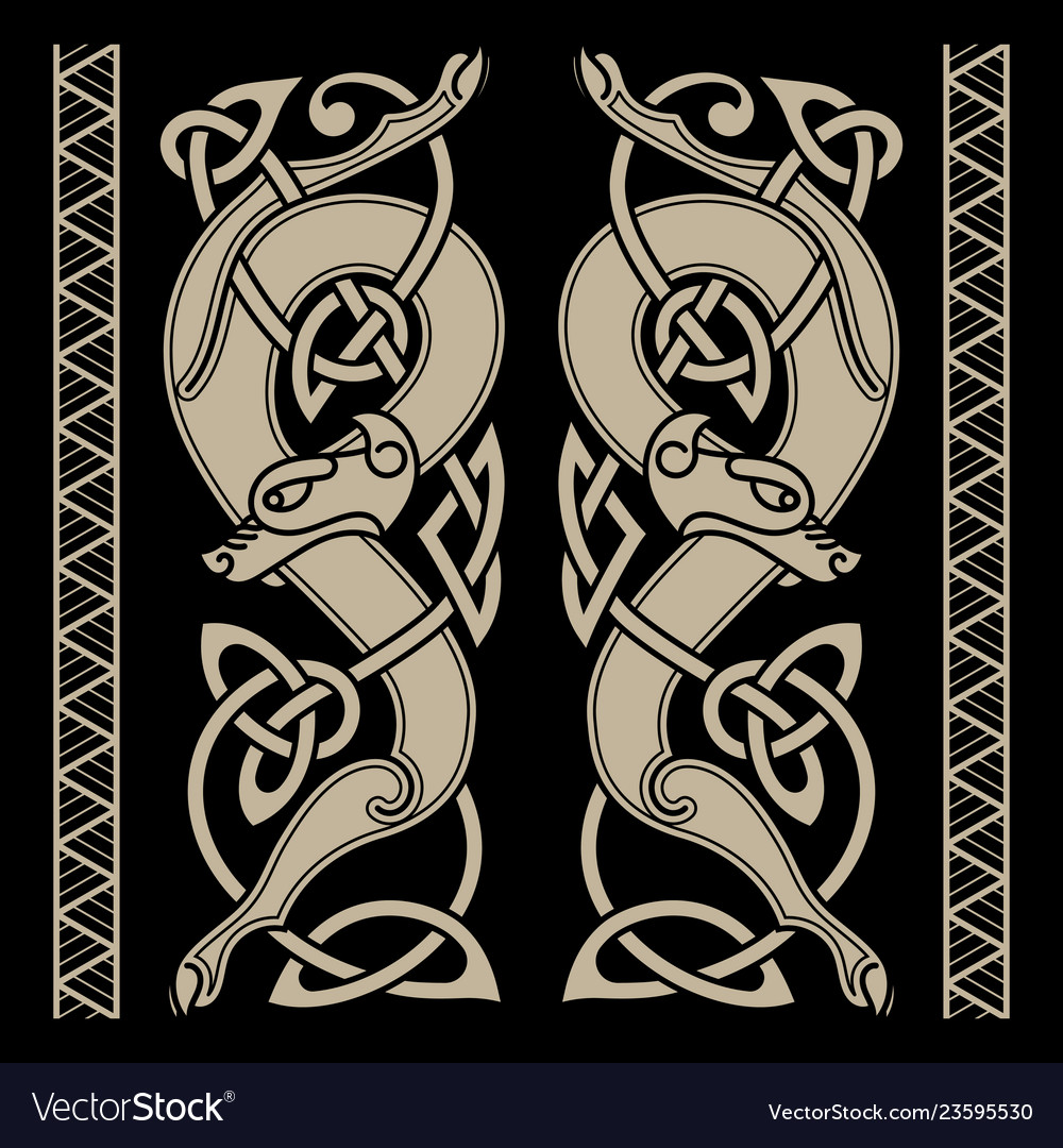 Wolfs in celtic style and celtic pattern