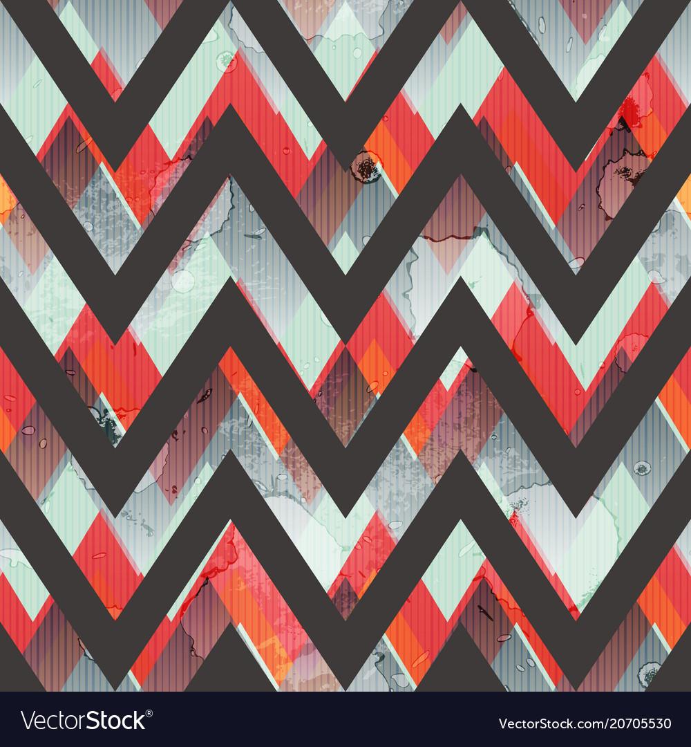 Zigzag grunge seamless pattern