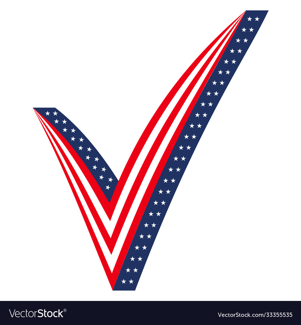 3d check mark stylized as usa flag icon elections