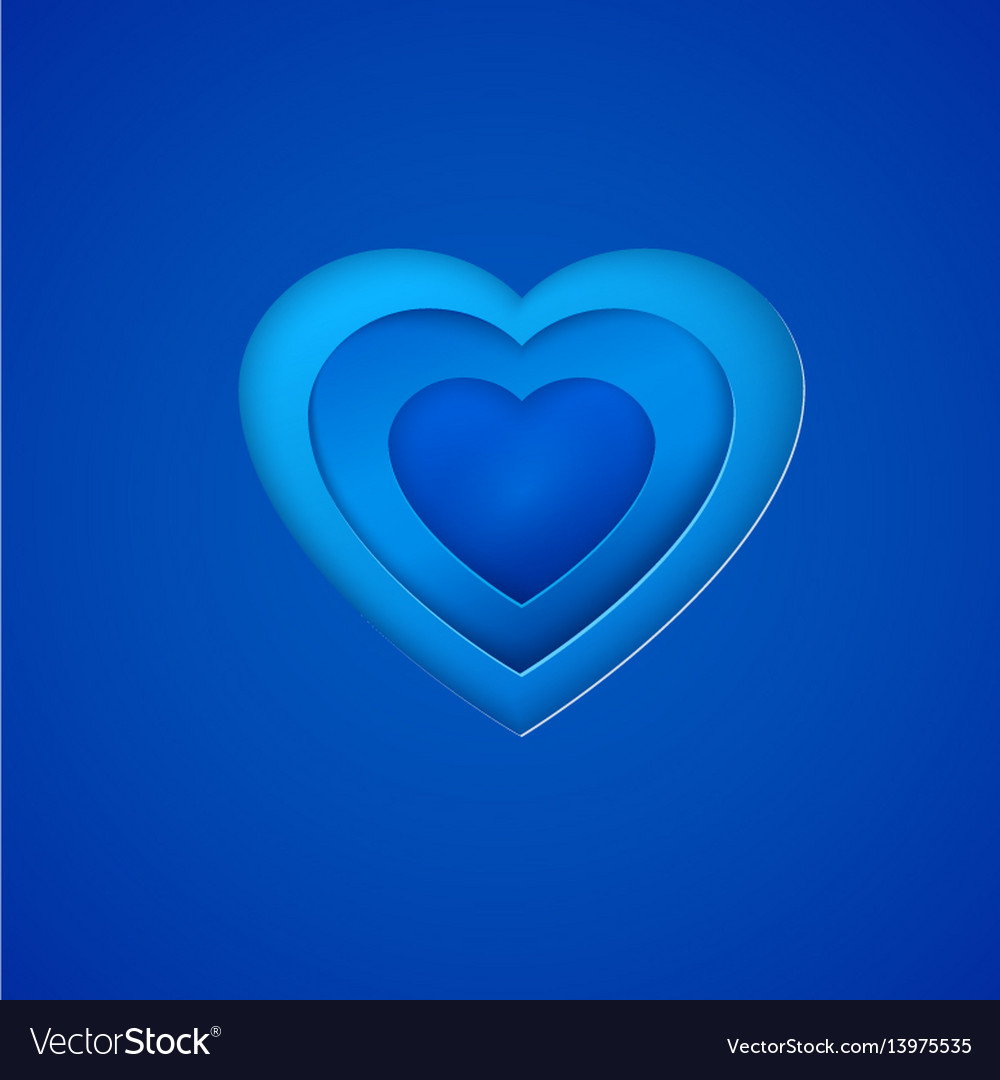 Blue paper heart on deep blue background vector image