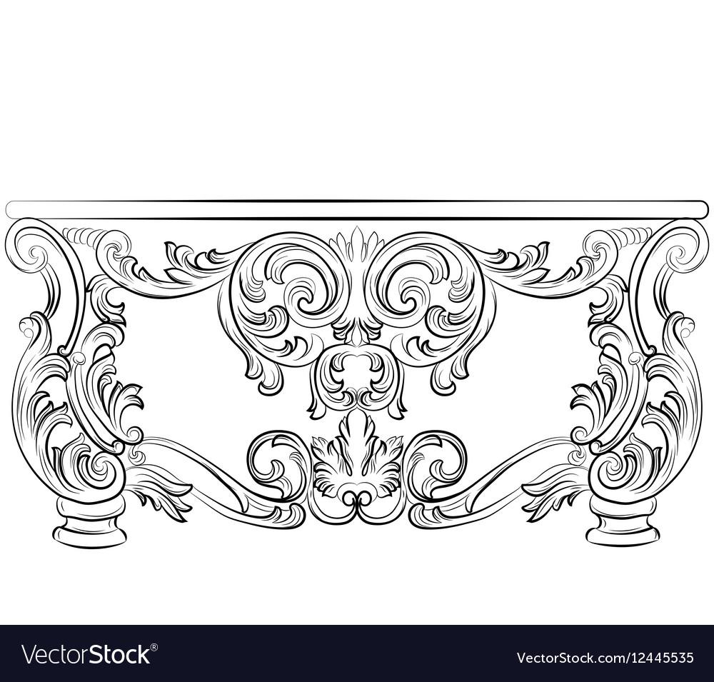 Fabulous Rich Rococo Desk Table vector image
