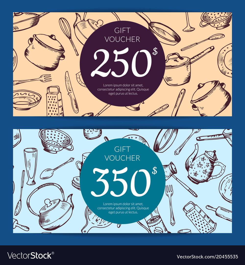 Gift voucher or discount card kitchen
