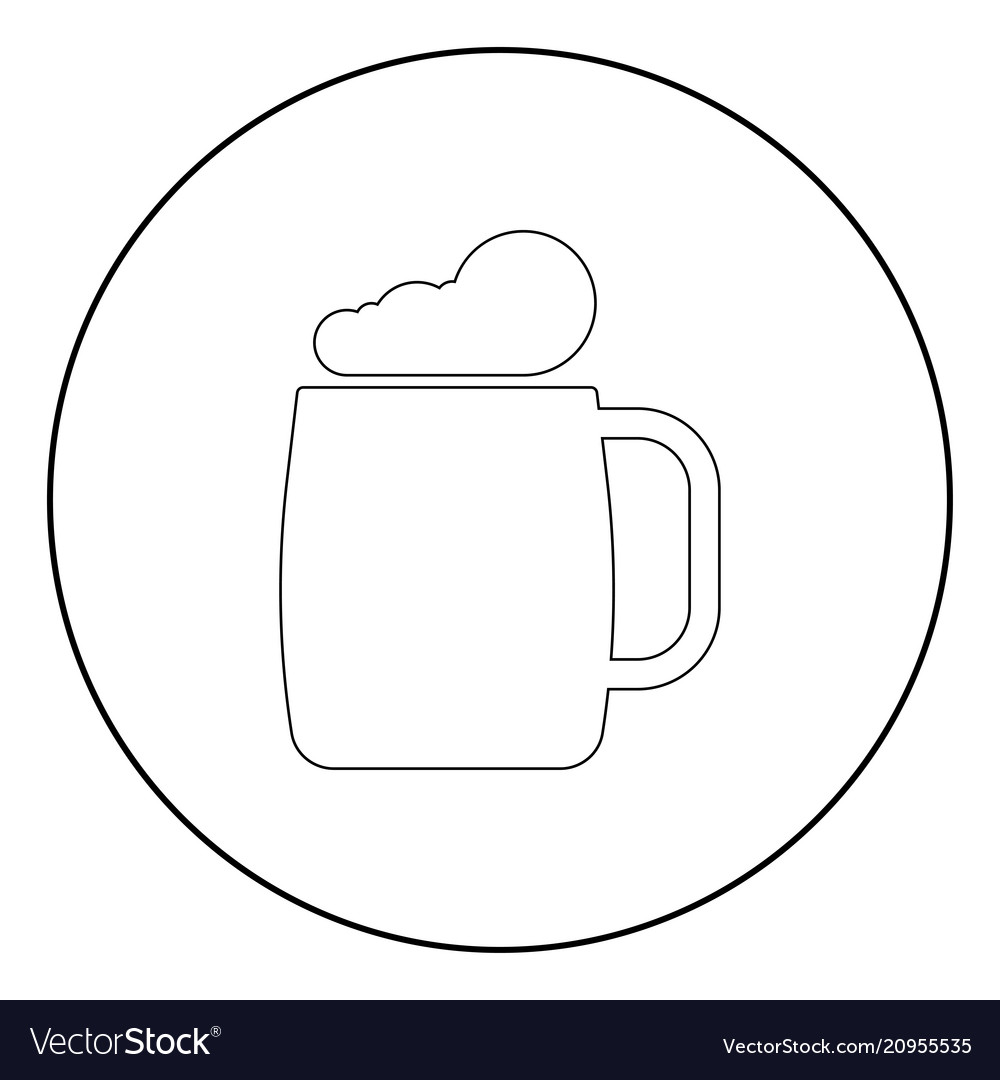 Glass of beer the black color icon in circle or