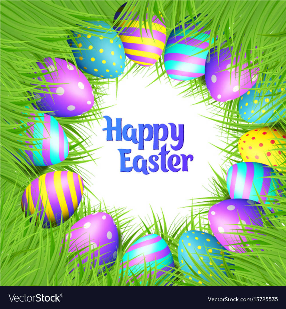 Happy easter eggs frame Royalty Free Vector Image