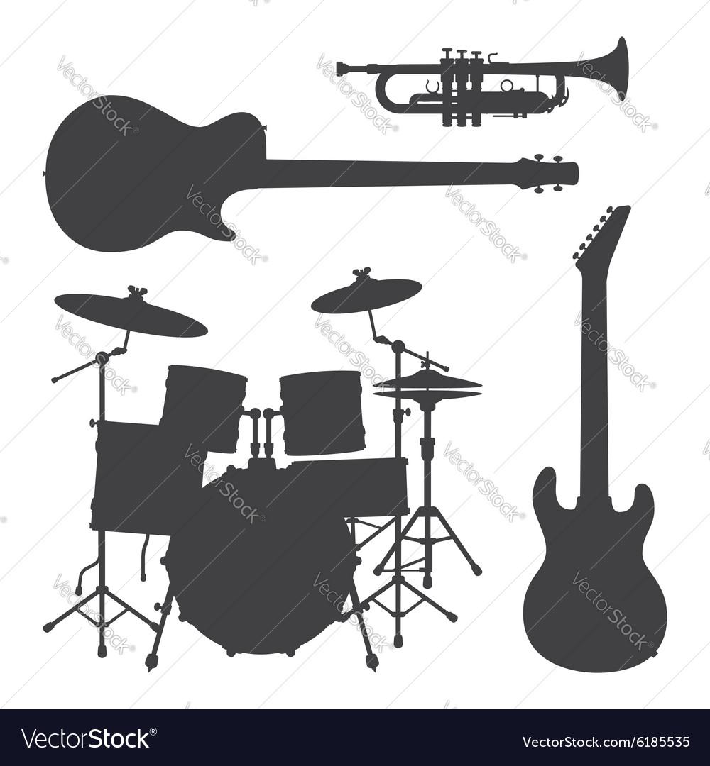 Monochrome music instruments silhouettes