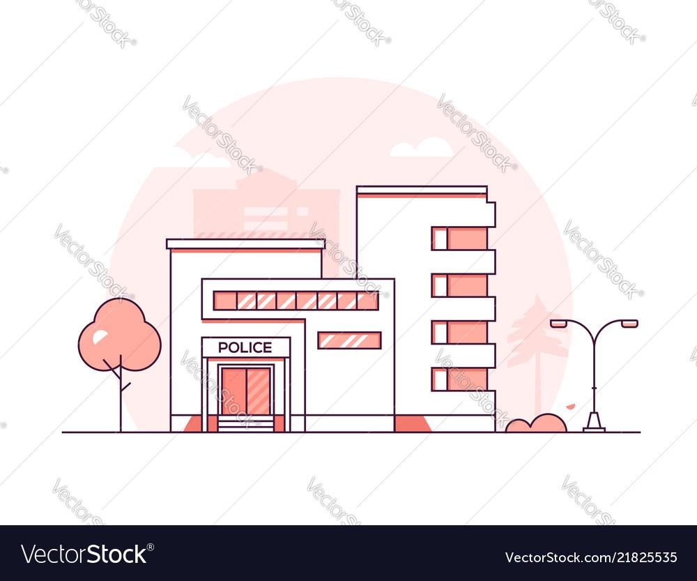 Police station - modern thin line design style