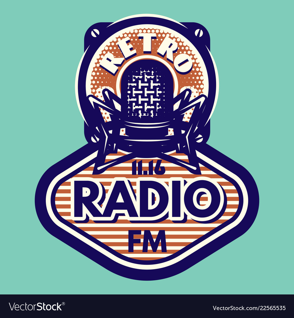 Retro style music emblem with microphone and