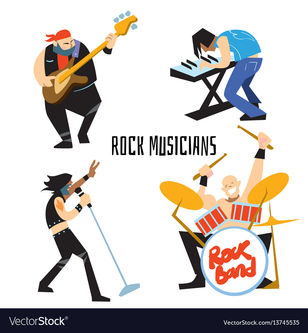 Rock band music group with musicians