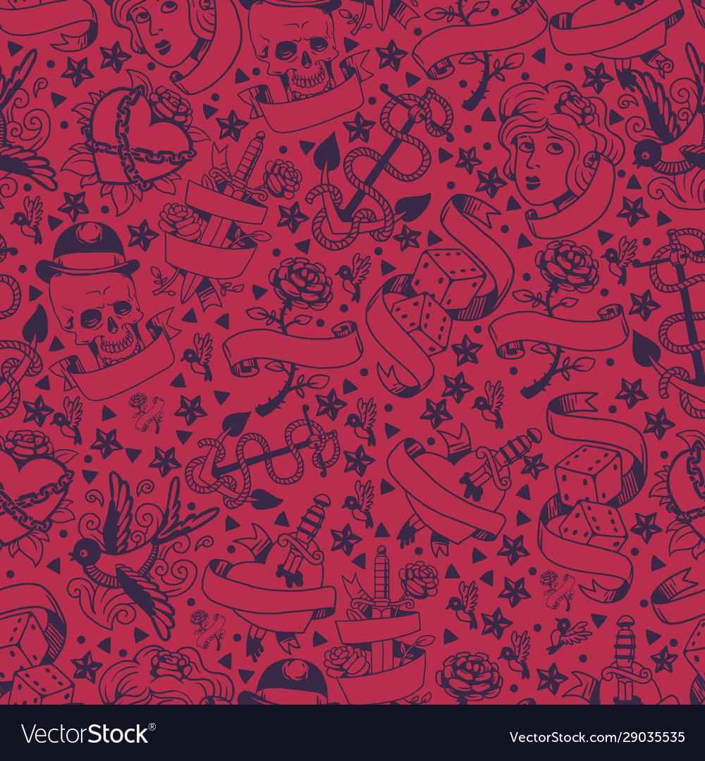Seamless pattern with graphic tattoo symbols