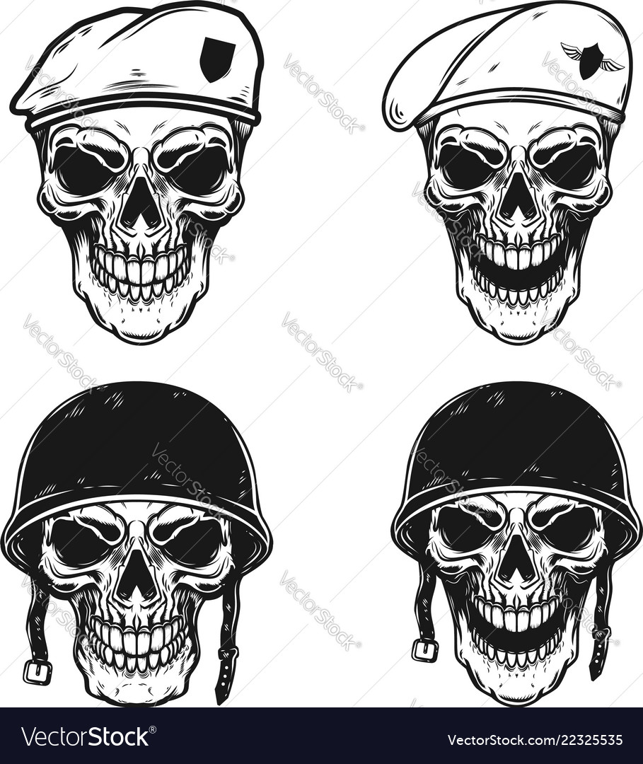 Set of soldier skull in battle helmet and