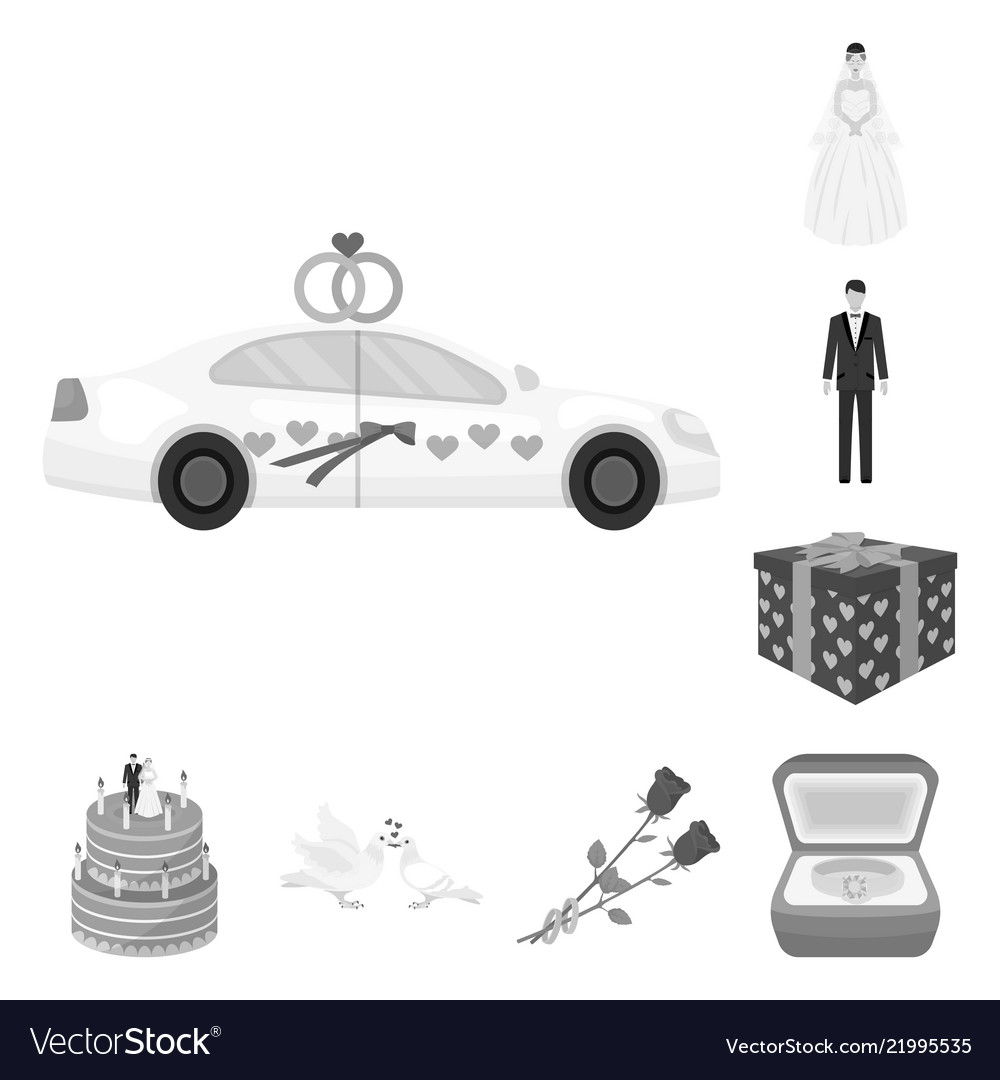 Wedding and attributes monochrome icons in set