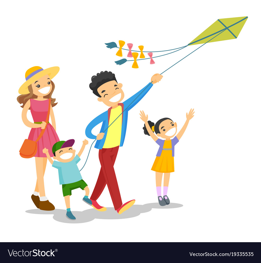 Young caucasian white family playing with a kite