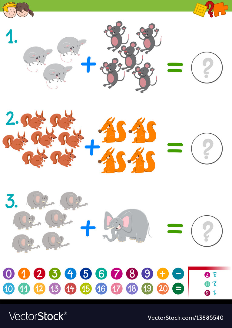 Addition maths game for kids Royalty Free Vector Image