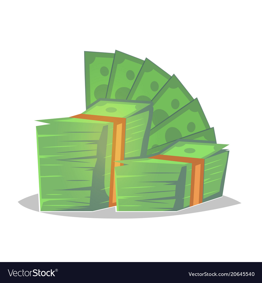 Big pile of cash money heap of packed dollar vector image