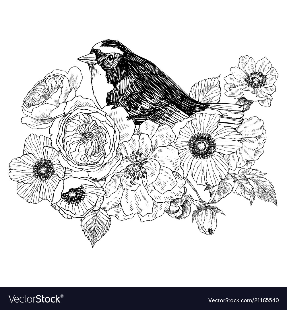 Bird hand drawn in vintage style with flowers