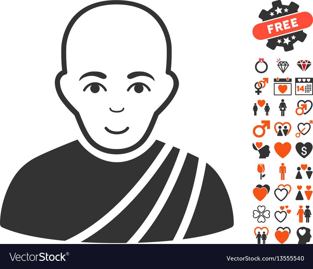 Buddhist monk icon with lovely bonus vector image