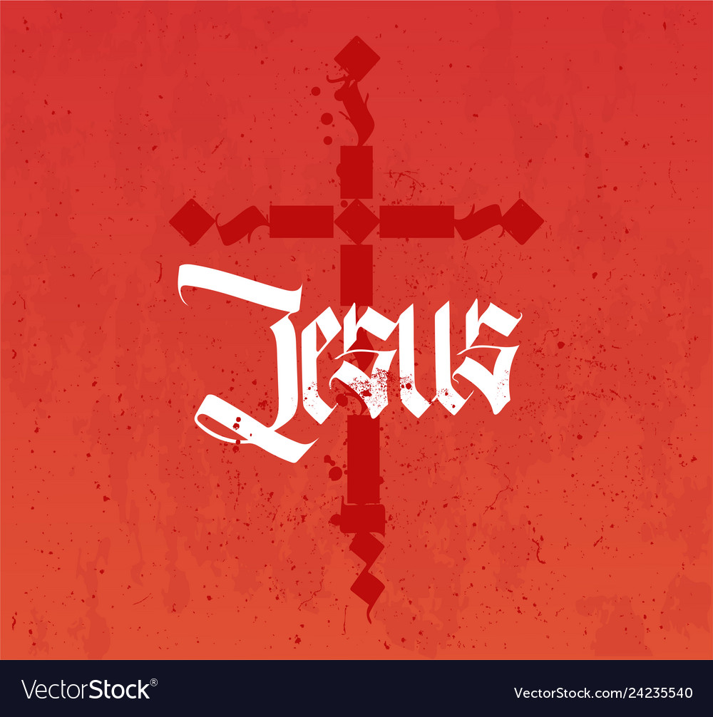Christian poster in gothic style of calligraphy
