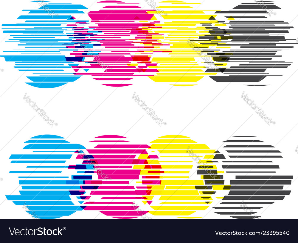 Cmyk circles with glitch effects