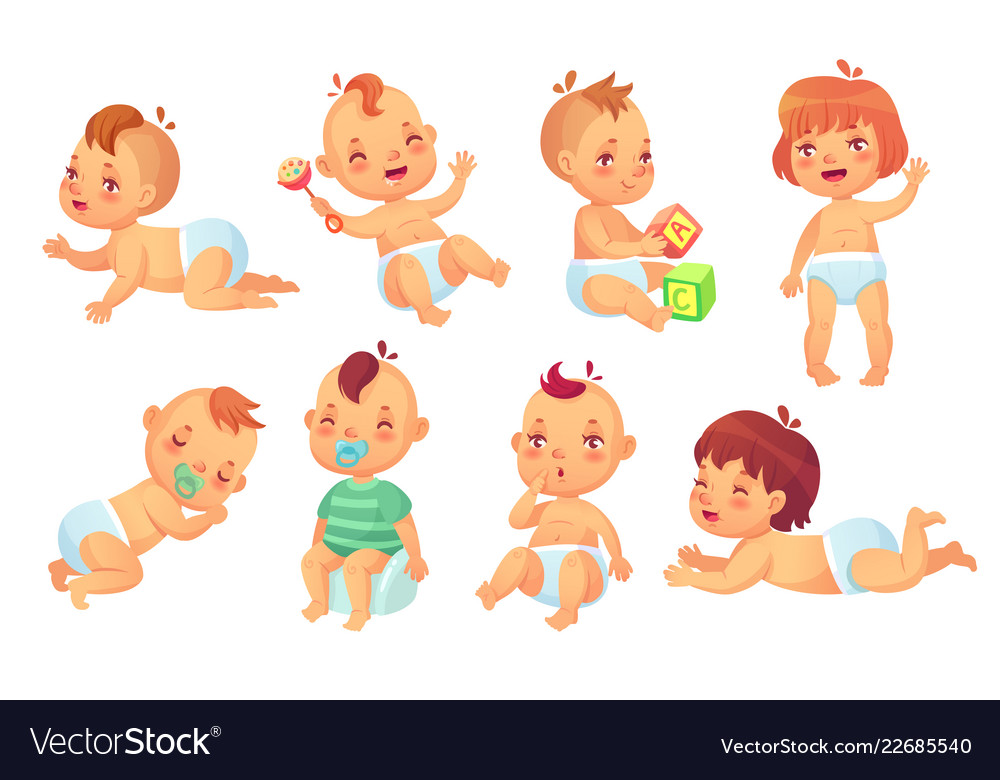 Cute baby happy cartoon babies smiling and
