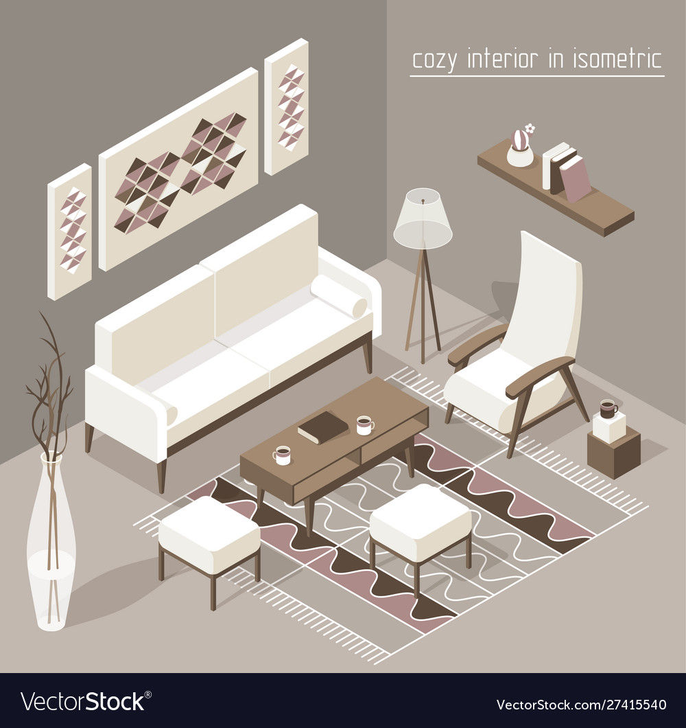 Living room isomertic detailed set graphic