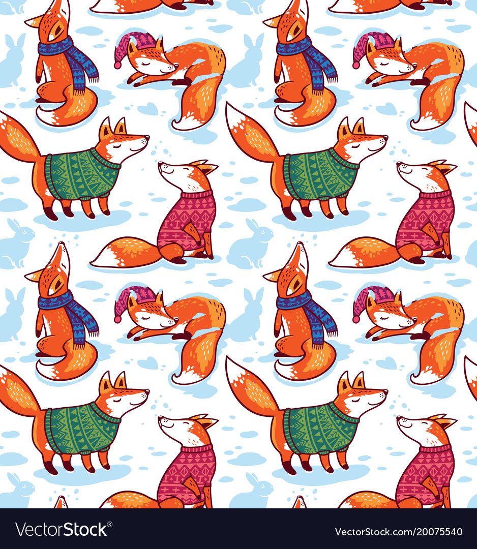 Seamless pattern with cute foxes in sweaters vector image