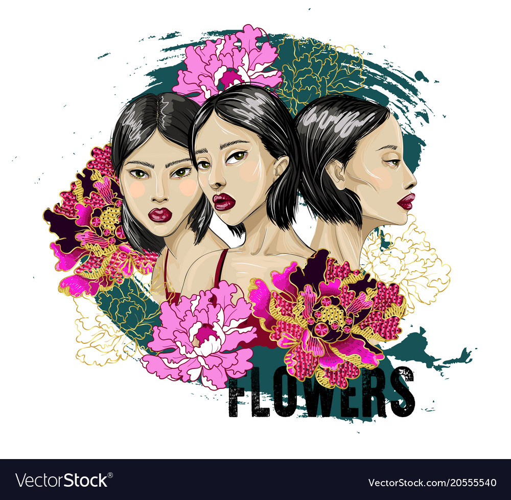 Three fashion japanese girl with flowers