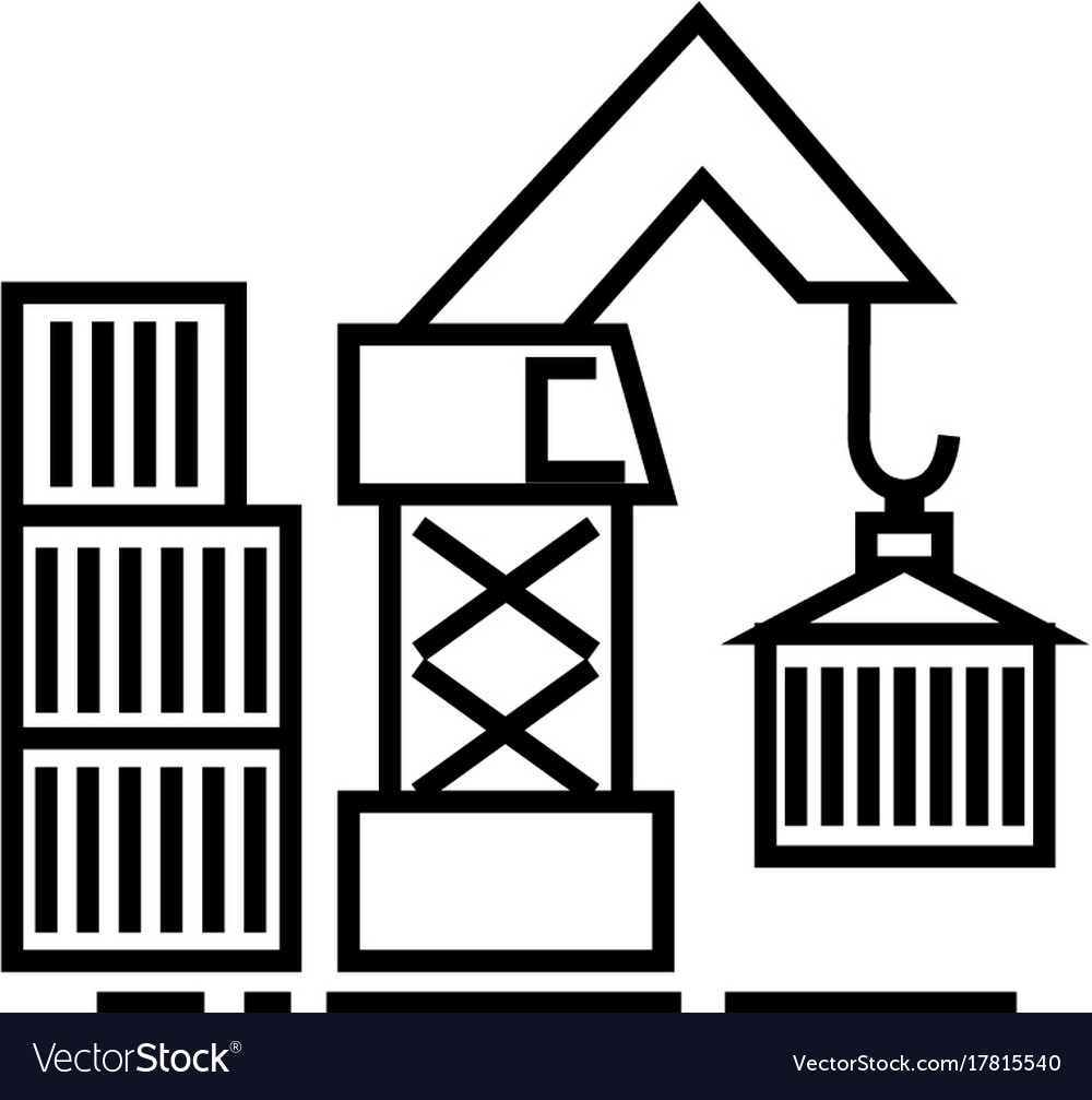 Warehouse crane cargo line icon sign vector image