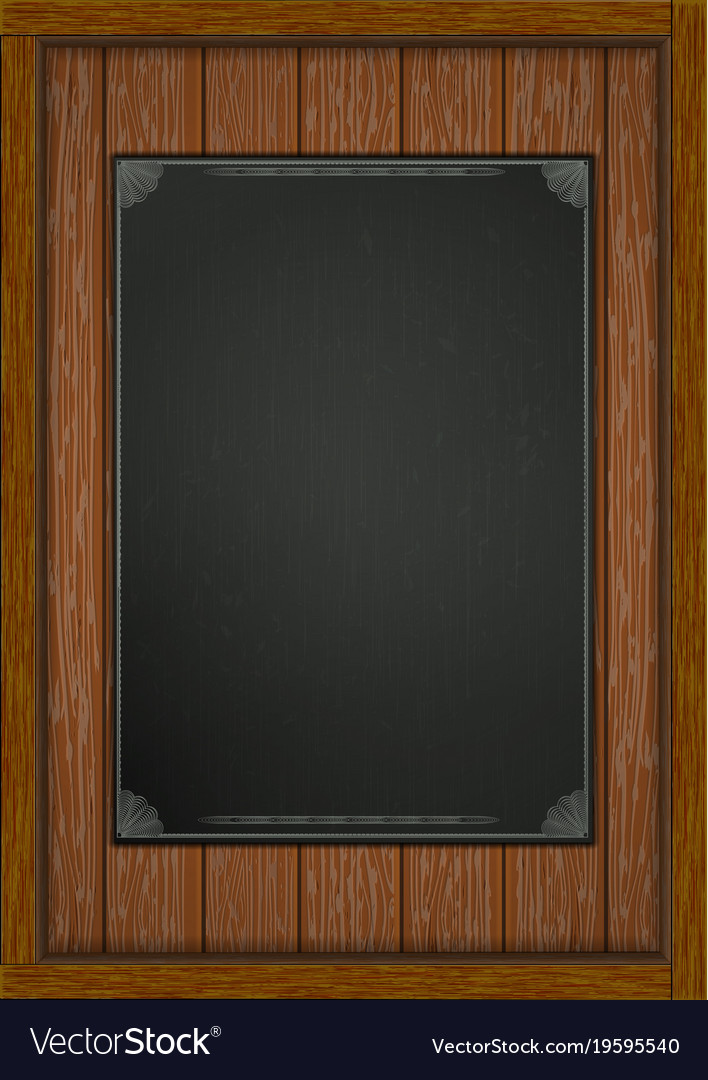 Wooden frame with boards black sheet a4 Royalty Free Vector