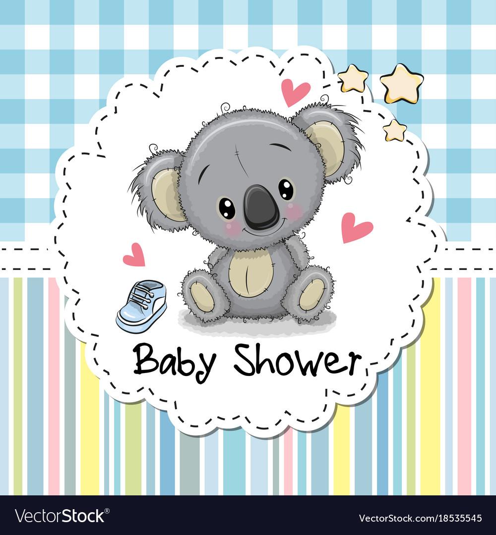 Baby shower greeting card with cartoon koala vector image m4hsunfo