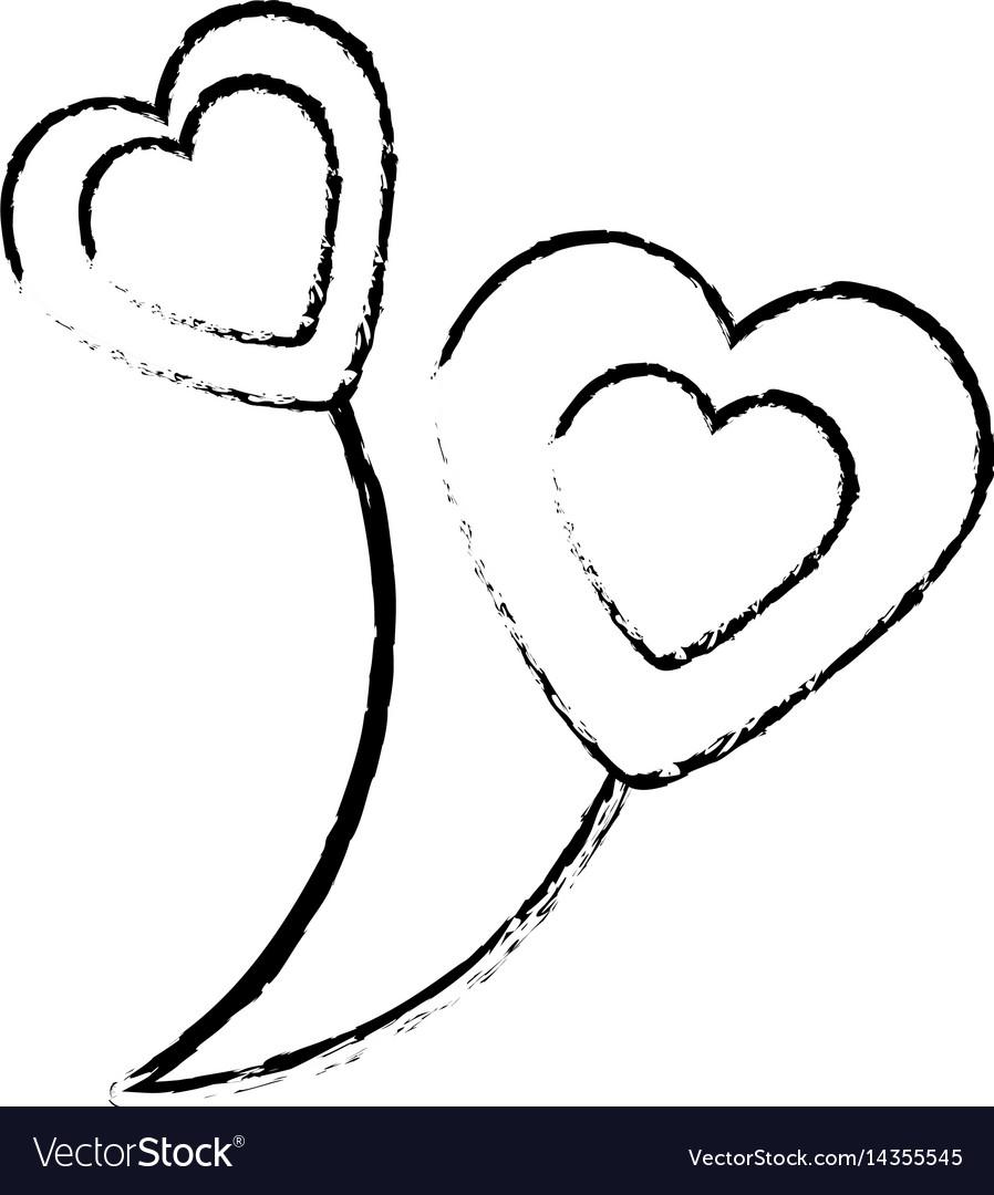 Balloons heart love sketch vector image