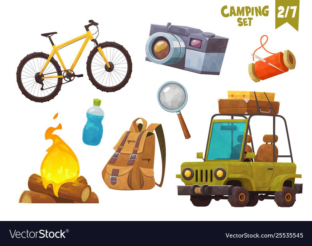Bike bonfire backpack car with suitcases bottle