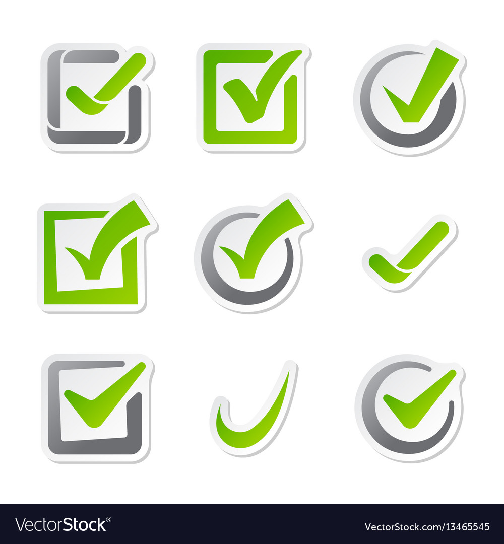 Check box icons vote mark sign choice yes